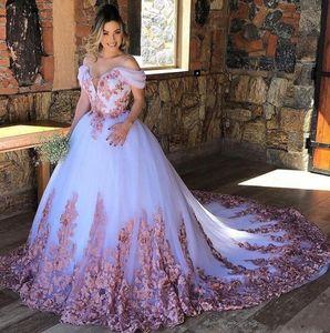Unique Multi Color Dusty rose Lace White Tulle Cheap Wedding Dresses Off the shoulder with Sleeves Wedding Bridal Gowns Vestido De Novia