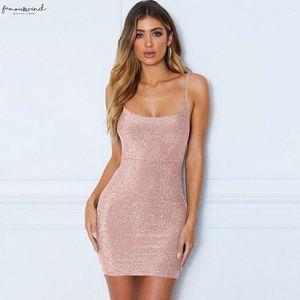 Women Sleeveless Backless Dress Evening Party Summer Sheath Crew Neck Sequins Bodycon Clubwear Short Mini Dresses Gold Black Pink