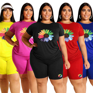 Plus size 5xl two piece Set Women Summer Clothing Flower Printed tracksuit Short Sleeve T-shirt+Shorts Jogging Suit Outfits Tee Tops 3293