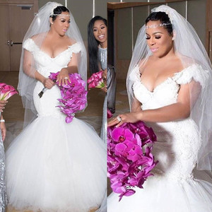 Plus Size Mermaid Wedding Dresses Lace Appliques Off Shoulder South African Wedding Dress Sweep Train Long Bridal Gowns Robe De Mariee
