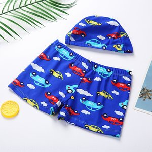 Children's with cap new outdoor Boy's Pants suit cap boxer swimming trunks set student swimming trunks