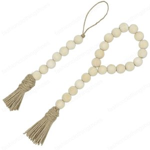 Natural Wooden Tassel Bead String Chain Hand Made Wood Farmhouse Decoration Beads with Tassel Hemp Rope Home Decor Wall Hanging