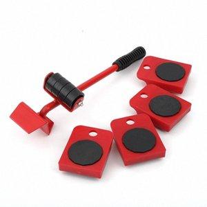 5pcs Furniture Mover Tool Set Monte-meubles lourds Outil 4 roues Déplacement Mover barre en métal à la main PQp3 #