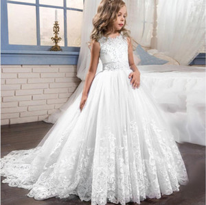 Spitze Mädchen Kinder Hochzeit Blume Mädchen Kleid Prinzessin Party Lange Weiße Kleider Kinder Teenager Mädchen 6 8 10 12 Jahre Formale Tragen T200709