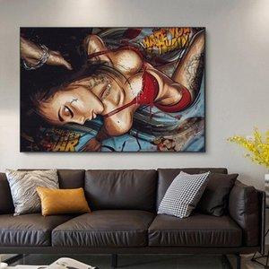 거실 장식을위한 캔버스 추상 벽 아트 포스터 및 인쇄 장식 그림에 현대 낙서 섹시한 여성 그림 유화