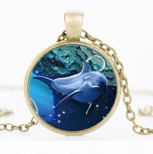 O Best Gift Creative Time Gem Necklace 3d Dolphin Glass Pendant Sweater Chain Hot Wfn378 (With Chain )Mix Order 20 Pieces A Lot