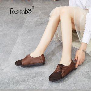 Tastabo cuero auténtico zapatos hechos a mano de las mujeres de estilo simple Marrón Caqui S118-2 zapatos inferiores suaves unificación de color c13 Conducir