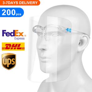 200pcs / серия Безопасность Face Shield, многоразовый Goggle Shield Face Visor Прозрачная Anti-Fog Layer защиты глаз от Всплеск