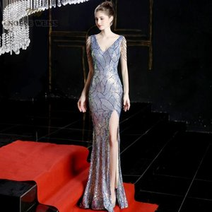 evening dresses 2020 colorful mermaid elastic sequin v-neck party dress sexy split long prom gown
