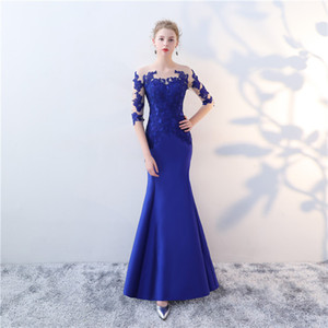 Lace dress blue cut out long banquet dress elegant everning dress boutique occasion dresses