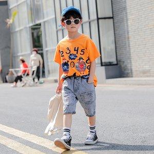 OXYzG Neue Digital-Kleidung tragen Frühling Kinder Jungen digitale kurzärmeligen Anzug mittlere und große Kinder-modernen Denims zweiteilige s
