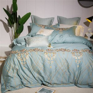 New 4 7pcs Luxury Egyptian cotton Bedding Set royal embroidery duvet covers Classical Chinese style Bed bedclothes
