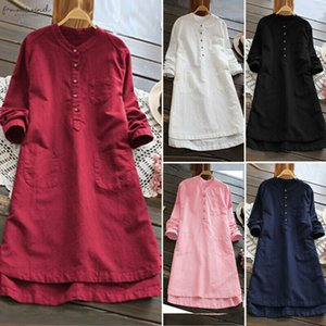 Big Size Dresses Cap Sleeve Summer 2020 Cotton Linen Shirt Women Button Up Long Womens Tunic Blouse Loose Short Sleeve Solid Irregular