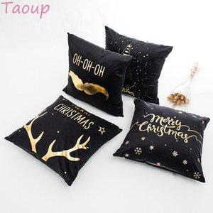 Taoup Gold Black Christmas Pillowcase Merry Christmas Ornaments Xmas Decor for Home Xmas Elk Horns 45*45cm Pillowcase Noel