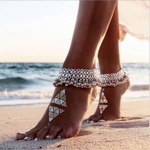 Tornozeleira Pé Pulseira Barefoot Sandals Cadeia Correia Praia Acessórios Jóias Bohemian Cor Sinos indiana de mulheres para mulheres