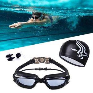 للجنسين عالية الوضوح للماء المضادة للضباب السباحة نظارات كبيرة الإطار نظارات وقبعة السباحة، سدادات الأذن كليب الأنف بدلة ثلاث مجموعات