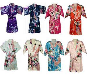 Children Nightwear 80~150 8 Colors New Classical FlowerJapanese Silk Kimono Robe Pajamas Nightdress Sleepwear for Kids Girls