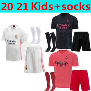 Kinder mit Socken Real Madrid Fussball Jersey 20 21 Gefahrenmodric Reinie Camiseta 2020 2021 Ballen Isco Youth Boys Jerseys ROdrygo Football Shirt