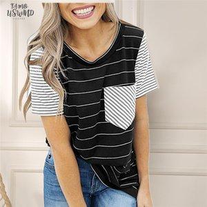 Striped T Shirt Women O Neck Short Sleeve 2020 New Pocket Tops Tee Shirts Women Clothes Casual Female Women Raglan Sleeves Tshirt