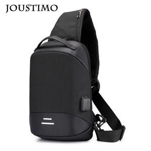 Men Chest Bag Handbags Oxford Cloth Wide Strap Shoulder Messenger Bags Outdoor Casual Multi-function Usb Charging Travel Packs