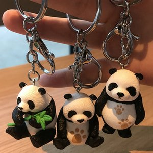 Cute Panda Lovely Keychain Bears Pandas Resin Pendant Doll Figures Toy Cosplay Key Ring Kids Women Jewelry Accessories Gift