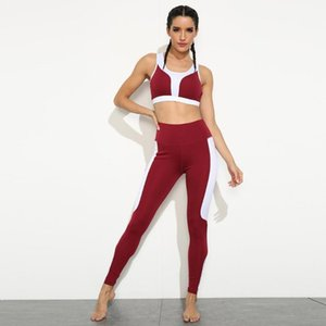 Causal 2 Piece Lazer Fitness Workout das mulheres Sports costura Bra respirável de Slim Leggings Atlético Trainning Exercise Set # g4