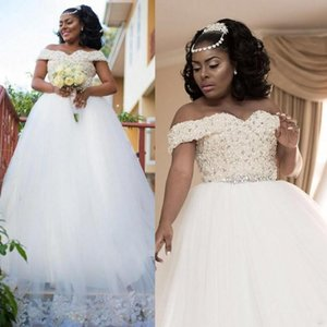 Custom Made Africa Wedding Dresses Off Shoulder Lace Beads Crystal A Line Pearl Bridal Gowns Wedding Gown Plus Size Vestidos De Novia