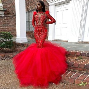 African Black Girls Evening Dresses Sheer Neck Sequined Lace Appliques Long Sleeves Prom Dres With Deathers Tulle Party vestidos de noite
