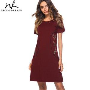 Günlük Elbiseler Güzel-Sonsuza Nedensel Rockabilly Yuvarlak Boyun Nakış Vestidos Kısa Kollu Çalışma Kadınlar Düz Shift Elbise T034