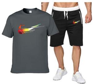 Hip hop Tracksuit men Casual Summer Men's Set Mens 100% Cotton T-Shirt + Print Beach Shorts Shirts Shorts Pants Two Piece S-2XL