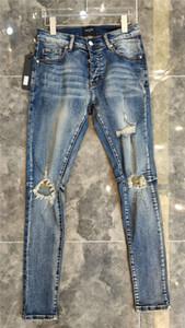 NUEVA stryle 20SS VERANO famoso agujero OCASIONAL MARCA diseñadores diseño delgado blanco MODA JEANS MOTOCICLETA pantalones pantalones mujer de los hombres