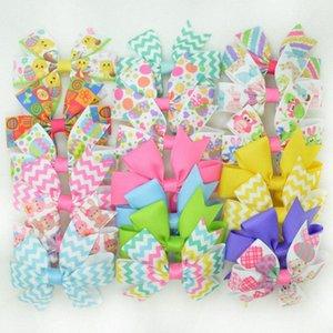 SUPWRF 3,1 pulgadas Impreso Grosgrain Pascua clips arcos de la cinta del pelo arco de las muchachas Headware niños Accesorios para el cabello MIX ToBe #