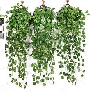 Искусственные Ivy Листва Зеленые листья Поддельный висячие Emalation Цветочная лоза завод Rattan Свадеб Garden Decor НАСТЕННЫЙ питания DHC341