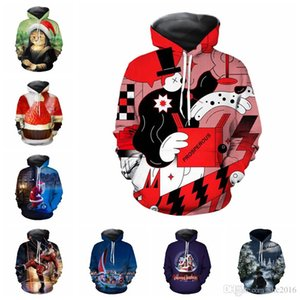 Men's Christmas Cat Hoodie Long Sleeves Sweatershirts 3D Printing Hooded Clothing for Male Couple Outerwear Designer Hoodie with Pocket