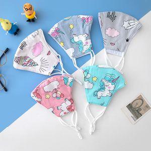 Unicorn Bambini Maschera per il viso morbido cotone lavabili riutilizzabili bambini mascherina del fumetto stampato antipolvere Bocca Maschere esterna di protezione HHA1468