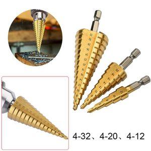HSS titanio Bits Paso perforar en busca de Metal Madera vástago hexagonal broca de taladro escalonado 4-32,4-20,4-12 Carpenter Herramientas Auger centro del agujero