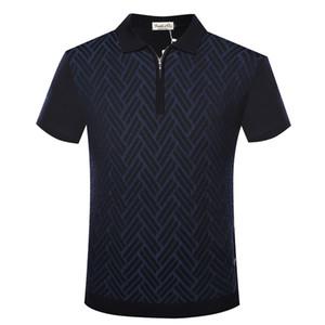 BILLIONAIRE T shirt men silk 2020 summer new style zipper collar fashion comfort geometry pattern clothing big size M-5XL free shipping