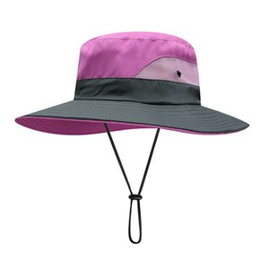 Women Outdoor Hiking Bucket Hat Quick Drying Breathable Sunshade UV Protection Wide Brim Ponytail Cap With Chain Strap
