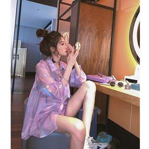 Salt-series sunscreen shirt Women's thin loose medium-length long-sleeved purple shirt design sense niche light