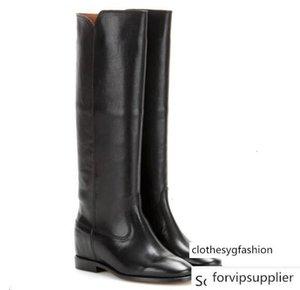 Parfait Design Nouveau Chaussures Isabel Echecs Bottes en cuir Paris Street Style Fashion Marant en cuir noir Wedge Bottes d'équitation Concealed