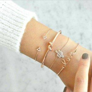 4PCS Set Cactus Opening Rhinestones Bracelet Triangle Knotted Tie LOVE Bracelets Bangles Women Jewelry