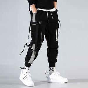 Moda Erkekler Kurdela Renk Blok Siyah Cep Kargo Pantolon 2020 Joggers Harajuku Sweatpant Hip Hop Pantolon Erkekler Sweatpants
