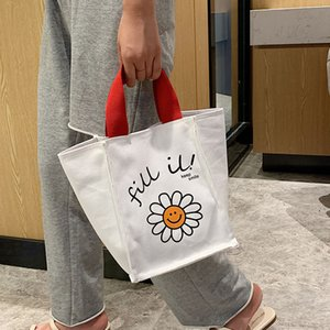 Summer Sun Flower Printing Portable Big Bag 2020 New Japanese Canvas Bag Female Fashion Wild Large Capacity Tote Lunch