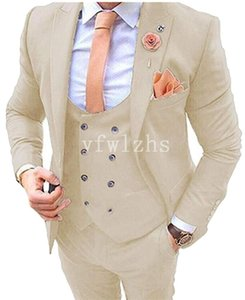 New Style One Button Handsome Peak Lapel Groom Tuxedos Men Suits Wedding Prom Dinner Best Man Blazer(Jacket+Pants+Tie+Vest) W220