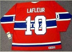 Erkek 10. GUY LAFLEUR Montreal Canadiens 1973 CCM Vintage özel Jersey Retro herhangi bir isim veya numara Ev Hokeyi Jersey Dışarıda k veya