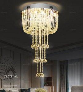D50*H88cm Modern Round Rain Drop Raindrop K9 Crystal Chandelier Light Fixture for Dining Room Bathroom Bedroom Livingroom LLFA