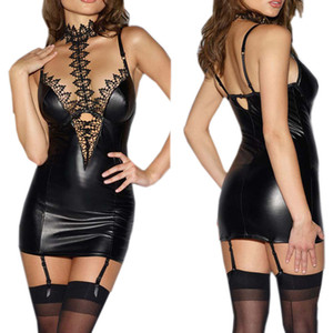 Erotic Lingerie Sexy Babydoll for Women PU Leather Lace Patchwork Role Play Cosplay Sexy Costumes Sex Lingerie Mini Dress