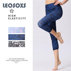 LEOSOXS New Yoga Pantalon mi-mollet Longueur Femmes d'impression numérique Yoga exercice en plein air Pantalons Fitness leggings respirant