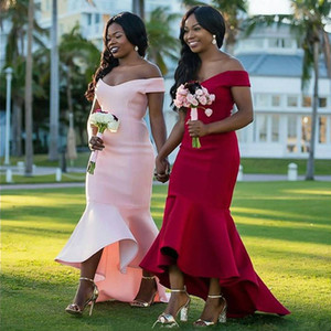 Women Off Shoulder Satin Mermaid Bridesmaid Dresses 2020 Pink Red High Low Party Dress with Zipper Back