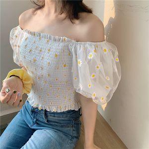 2020 Women Summer Sexy Sweet Floral Print Slash Neck Short Crop Top Princess Preppy Style Puff Sleeve Blouse Shirt Blusa